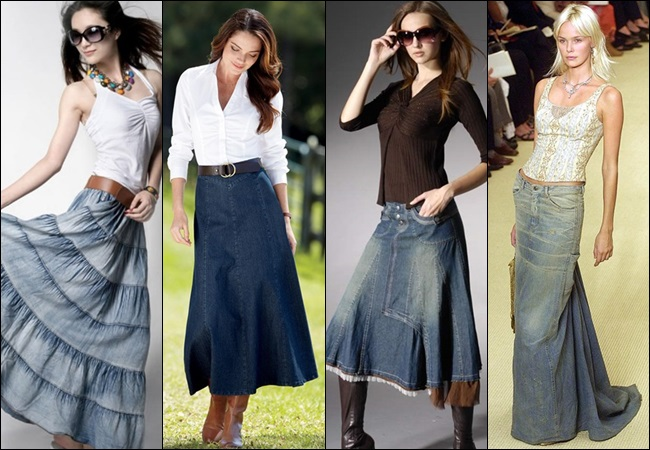 Long Denim Maxi Skirt